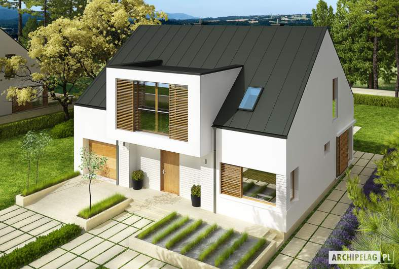 Projekt domu EX 9 G1 (wersja B) soft - widok z góry front