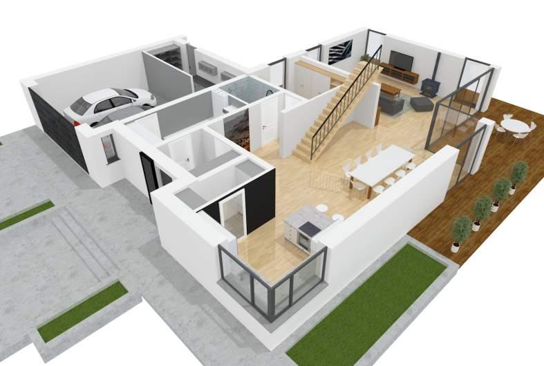 Projekt domu Teodor G2 (wersja A) - parter 3D