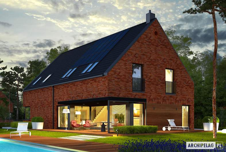 Projekt domu Teodor G2 (wersja A) - wizualizacja ogrodowa nocna