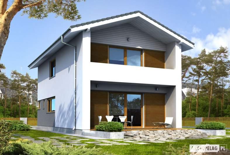 Projekt domu Mika - wizualizacja ogrodowa