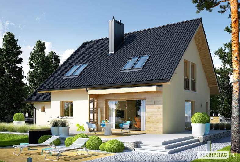 Projekt domu E5 G1 ECONOMIC (wersja C) - wizualizacja ogrodowa