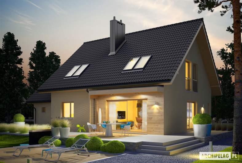 Projekt domu E5 G1 ECONOMIC (wersja C) - wizualizacja ogrodowa nocna