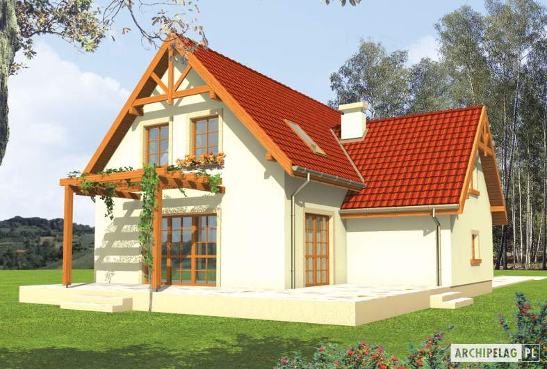 Projekt domu Salome G1 - wizualizacja ogrodowa