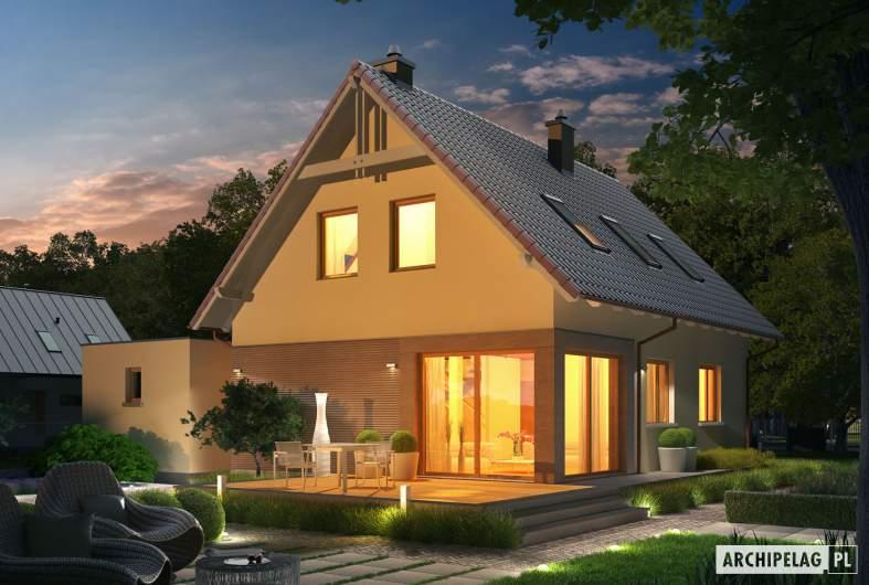 Projekt domu Tiago G1 (wersja B) - wizualizacja ogrodowa nocna