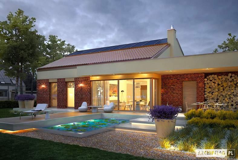 Projekt domu EX 11 G2 (wersja B) soft - wizualizacja ogrodowa nocna