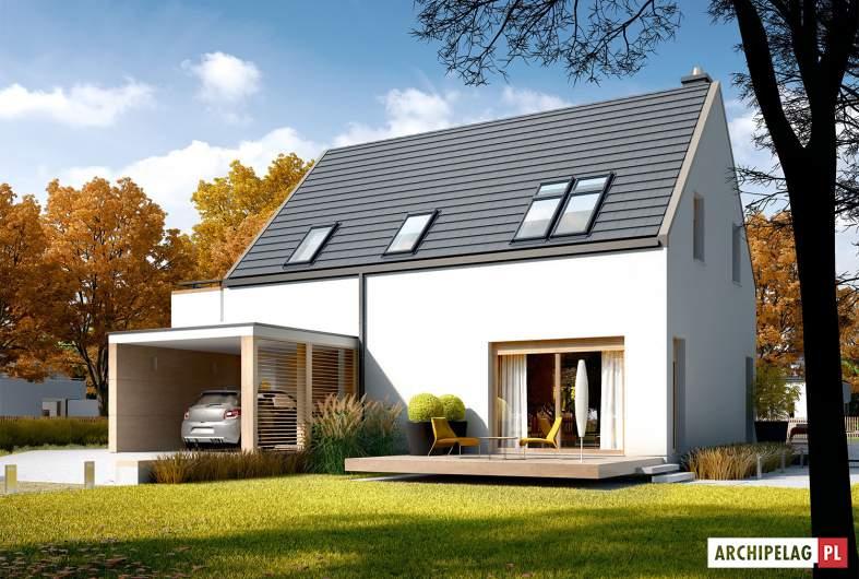 Projekt domu Oskar (z wiatą) ENERGO PLUS - wizualizacja frontowa