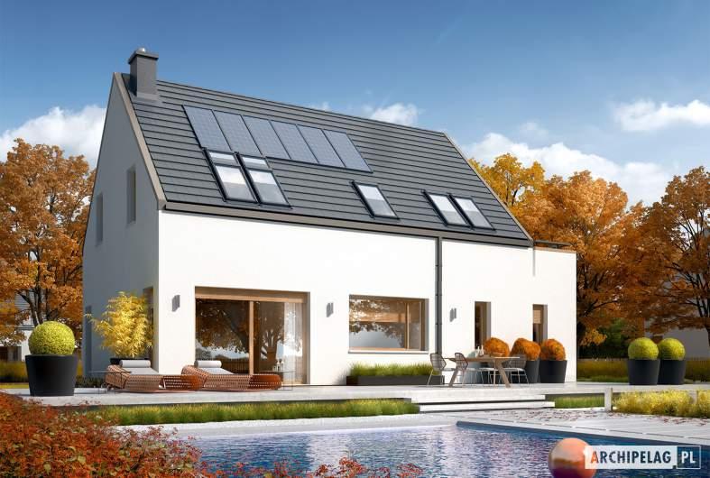Projekt domu Oskar (z wiatą) ENERGO PLUS - wizualizacja ogrodowa