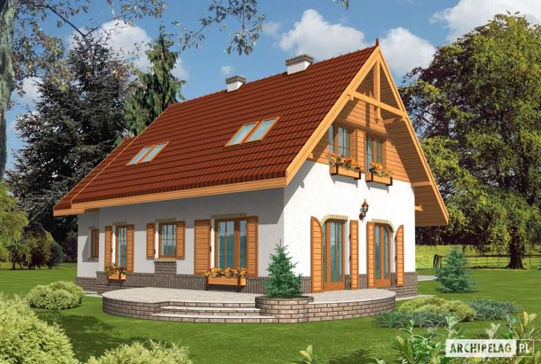 Projekt domu Iskierka G1 - wizualizacja ogrodowa