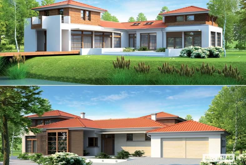Projekt domu Dionizy (mały) G2 - wizualizacja łączona