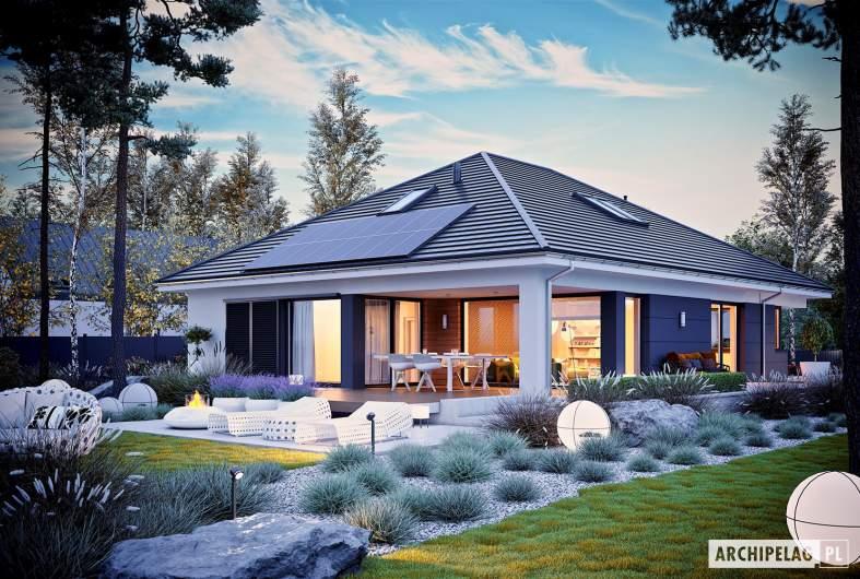 Projekt domu Alison IV G2 - wizualizacja ogrodowa nocna