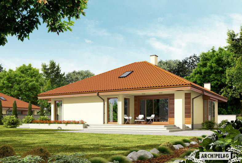 Projekt domu Flori III G1 (wersja B) Leca® DOM - Projekty domów ARCHIPELAG - Flori III G1 (wersja B) Leca® DOM - wizualizacja ogrodowa