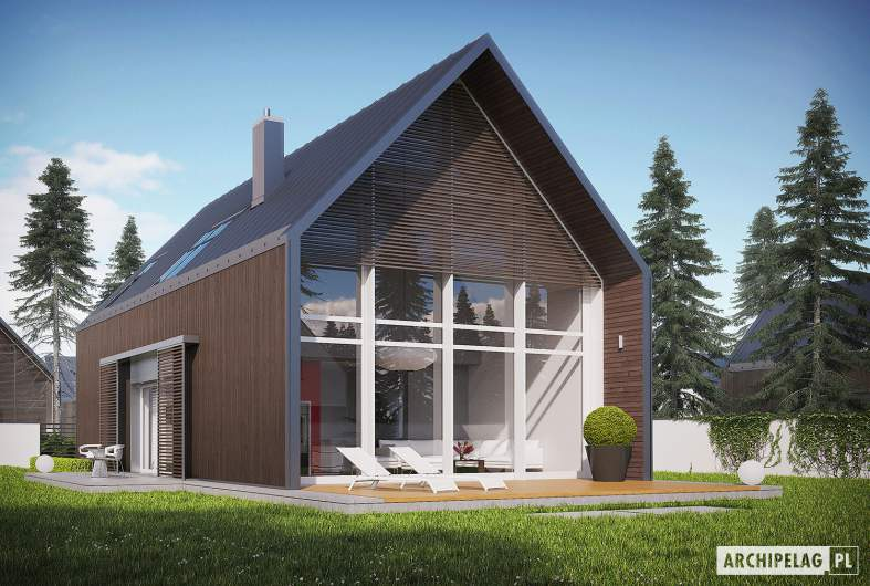 Projekt domu EX 13 ENERGO PLUS - Projekty domów ARCHIPELAG - EX 13 - wizualizacja ogrodowa