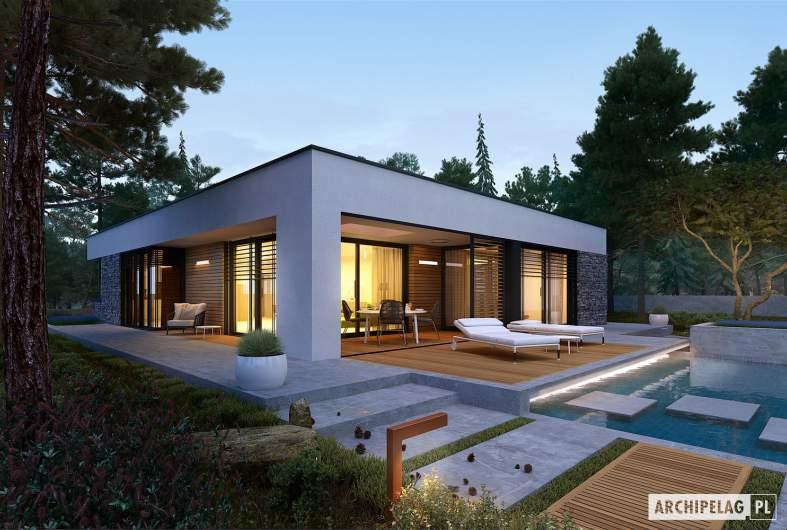 Projekt domu EX 21 G2 soft - wizualizacja ogrodowa nocna