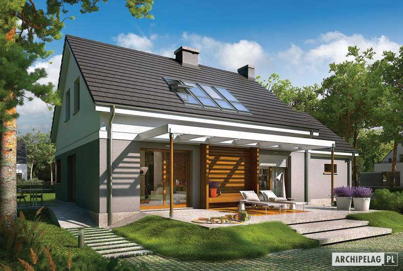 Projekt domu Ariel G1 ENERGO - elewacja ogrodowa
