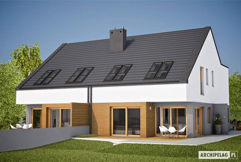 Projekt domu Lukas G1 (bliźniak) - wizualizacja ogrodowa