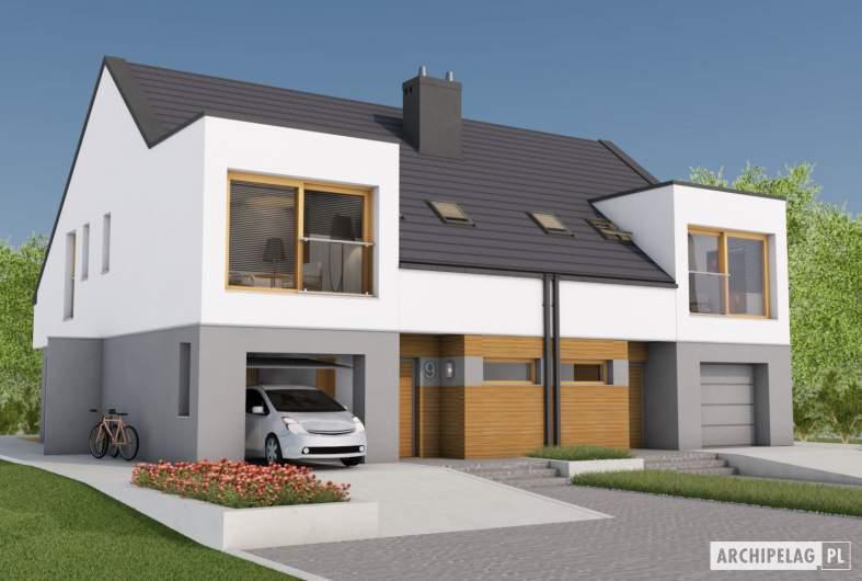 Projekt domu Lukas G1 (bliźniak) - wizualizacja frontowa