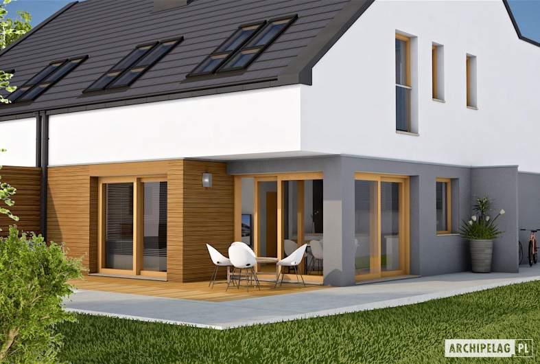 Projekt domu Lukas G1 (bliźniak) - wizualizacja ogrodowa detal