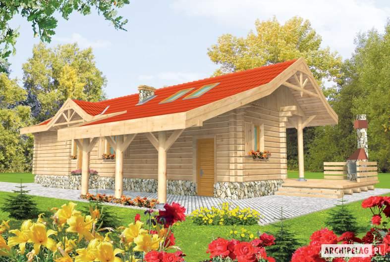 Projekt domu Aniela (z wiatą) - wizualizacja frontowa