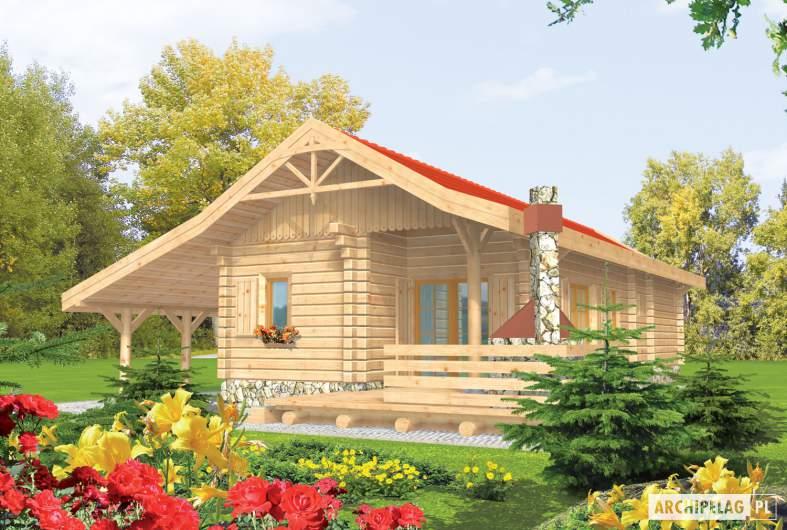 Projekt domu Aniela (z wiatą) - wizualizacja ogrodowa