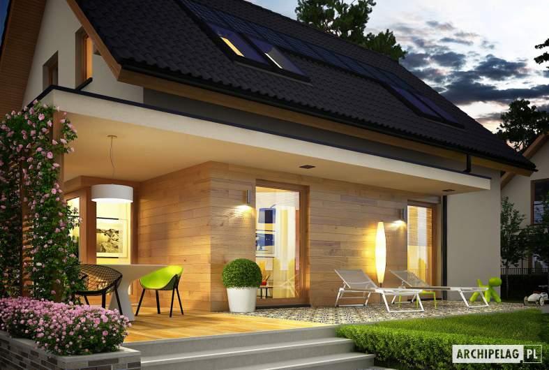 Projekt domu Lila ECONOMIC - wizualizacja ogrodowa nocnadetal