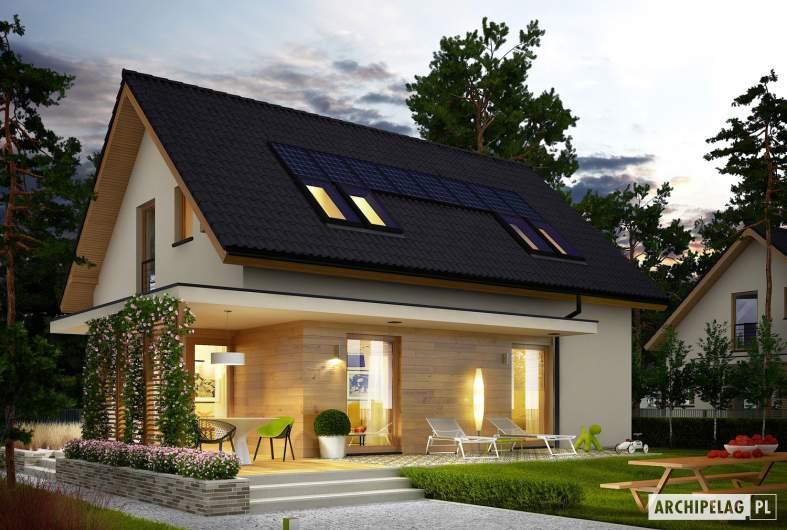 Projekt domu Lila ECONOMIC - wizualizacja ogrodowa nocna