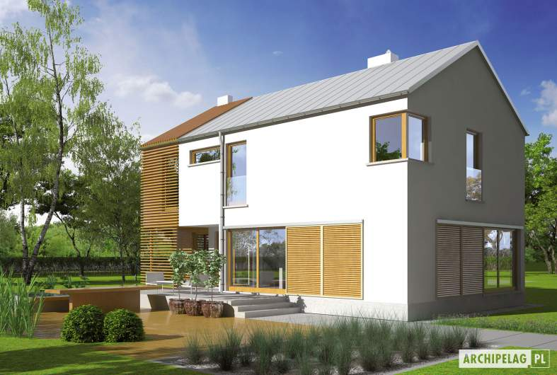 Projekt domu EX 1 - wizualizacja ogrodowa