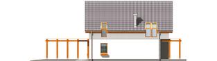 Projekt domu Lara (z wiatą) - elewacja prawa