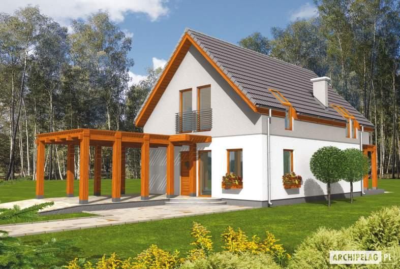 Projekt domu Agnes G1 - Archipelag - wizualizacja frontowa