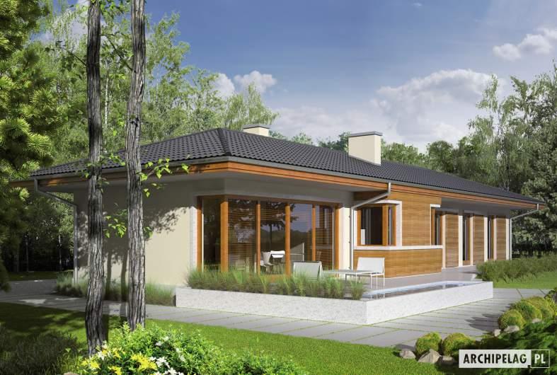 Projekt domu Bil II (z wejściem od południa) - Projekty domów ARCHIPELAG - Bil II (z wejściem od południa) - wizualizacja frontowa