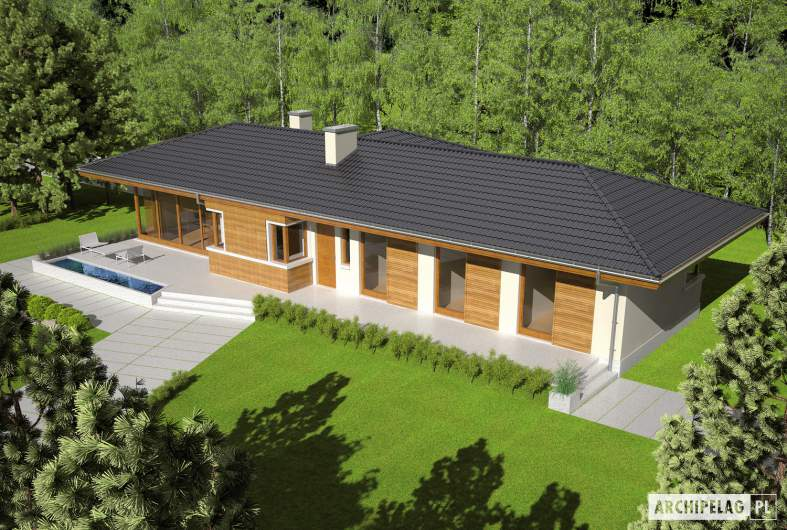 Projekt domu Bil II (z wejściem od południa) - Projekty domów ARCHIPELAG - Bil II (z wejściem od południa) - widok z góry