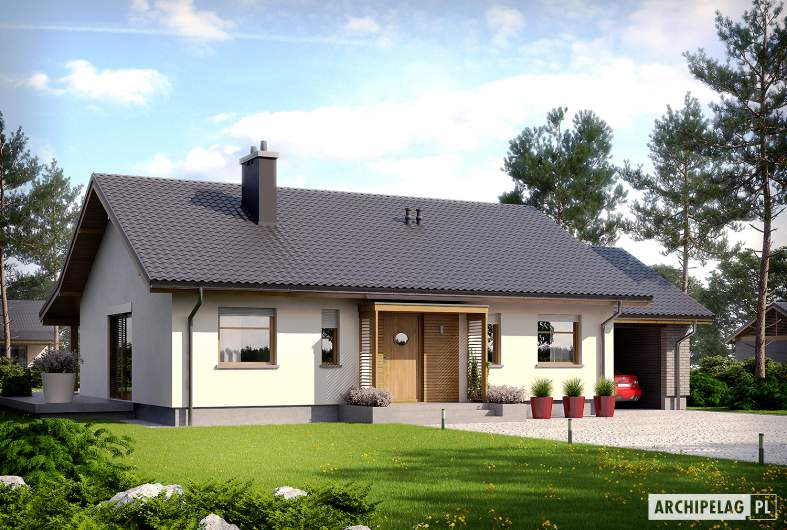 Projekt domu Kornel II (z wiatą) ENERGO - Projekty domów ARCHIPELAG - Kornel II (z wiatą) ENERGO - wizualizacja frontowa