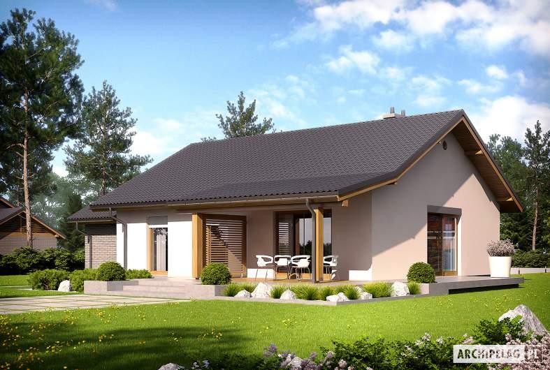 Projekt domu Kornel II (z wiatą) ENERGO - Projekty domów ARCHIPELAG - Kornel II (z wiatą) ENERGO - wizualizacja ogrodowa