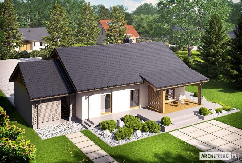 Projekt domu Kornel II (z wiatą) ENERGO - Projekty domów ARCHIPELAG - Kornel II (z wiatą) ENERGO - widok z góry