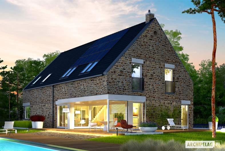 Projekt domu Teodor G2 (wersja C) ENERGO PLUS - wizualizacja ogrodowa nocna