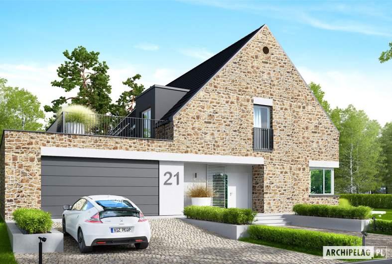 Projekt domu Teodor G2 (wersja C) ENERGO PLUS - wizualizacja frontowa