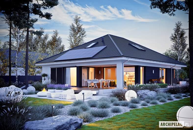 Projekt domu Alison IV G2 ENERGO PLUS - wizualizacja ogrodowa nocna