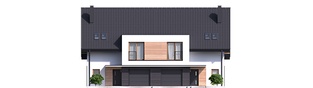 Projekt domu Konrad G1 (bliźniak) - elewacja frontowa