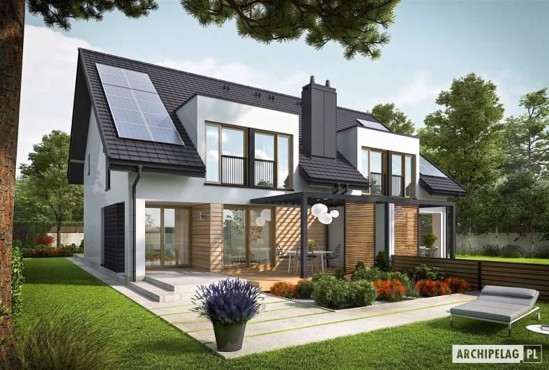 Projekt domu Konrad G1 (bliźniak) - wizualizacja ogrodowa