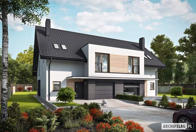 Projekt domu Konrad G1 (bliźniak) - wizualizacja frontowa