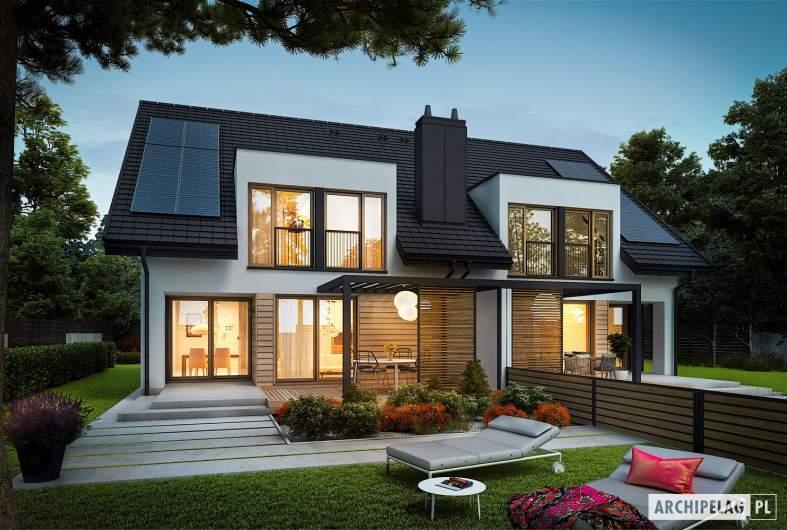 Projekt domu Konrad G1 (bliźniak) - wizualizacja ogrodowa nocna