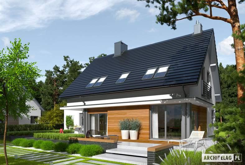 Projekt domu Lars G1 (wersja A) - Projekty domów ARCHIPELAG - Lars G1 (wersja A) - wizualizacja ogrodowa prawa