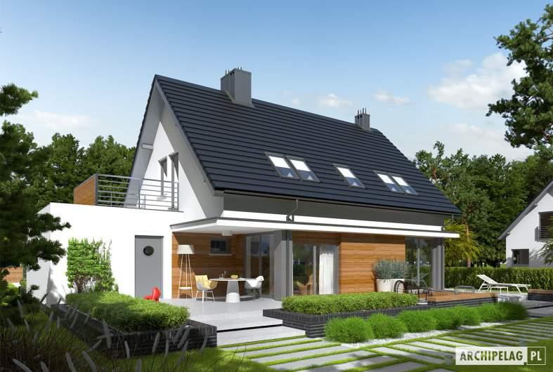 Projekt domu Lars G1 (wersja A) - Projekty domów ARCHIPELAG - Lars G1 (wersja A) - wizualizacja ogrodowa