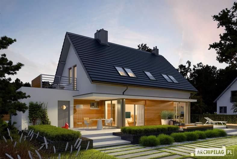 Projekt domu Lars G1 (wersja A) - Projekty domów ARCHIPELAG - Lars G1 (wersja A) - wizualizacja ogrodowa nocna
