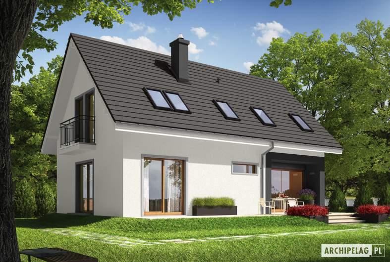 Projekt domu E2 ECONOMIC (wersja B) - wizualizacja ogrodowa