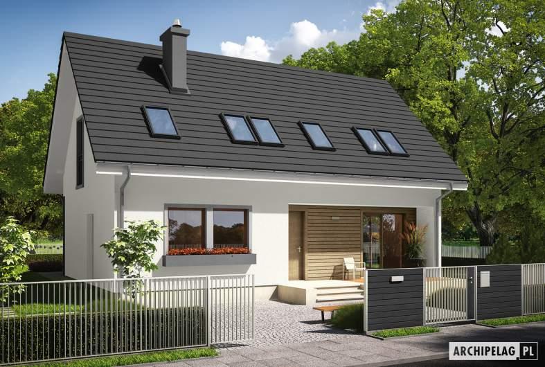 Projekt domu E2 ECONOMIC (wersja B) - wizualizacja frontowa
