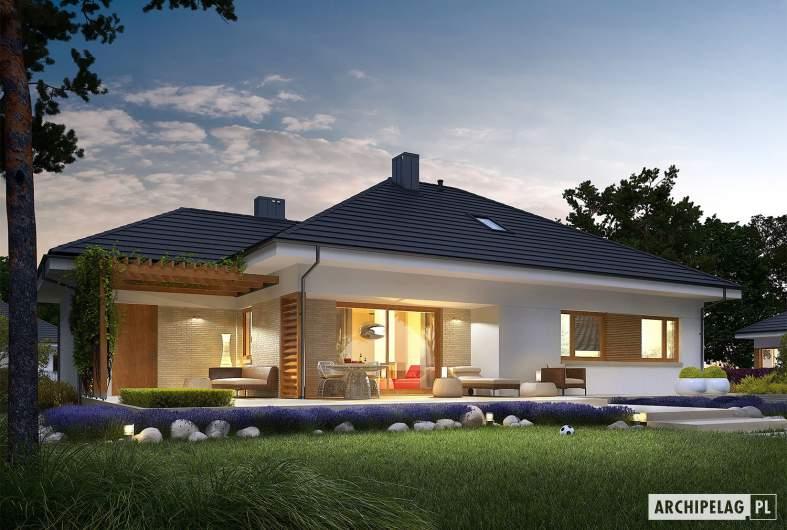 Projekt domu Flo III G1 - wizualizacja ogrodowa nocna