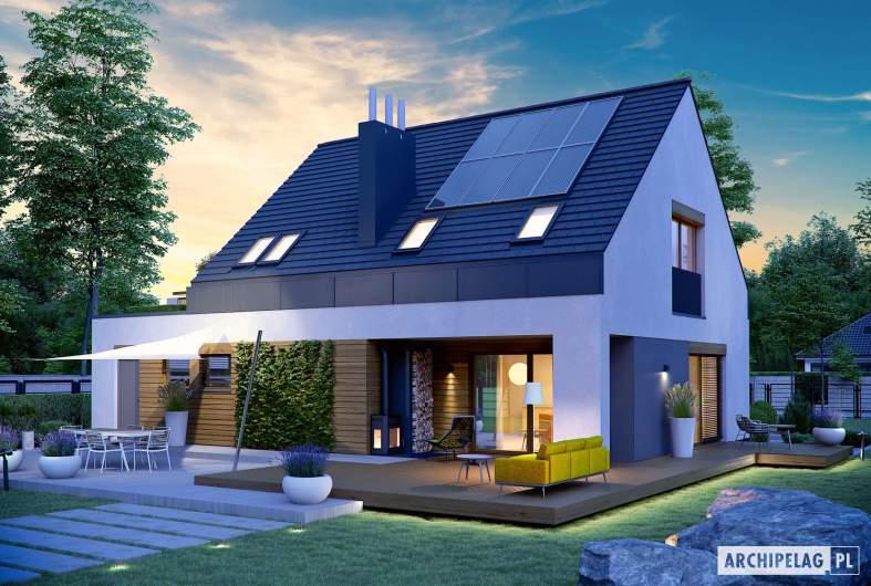 Projekt domu Sam G1 - Projekty domów ARCHIPELAG - Sam G1 - wizualizacja ogrodowa nocna
