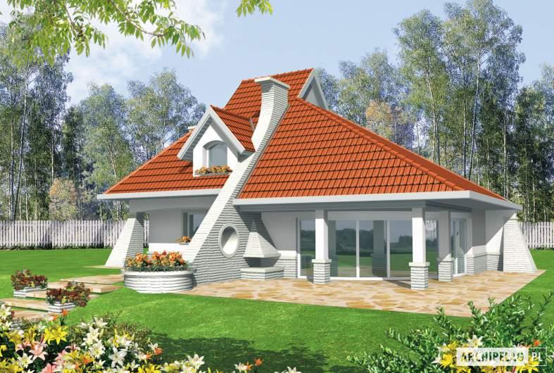 Projekt domu Nawojka - wizualizacja ogrodowa