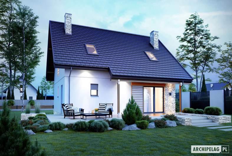 Projekt domu Oli II - wizualizacja ogrodowa nocna