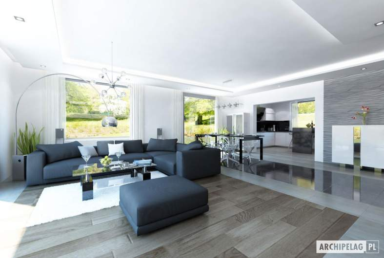 Projekt domu Marisa II G2 ENERGO - Projekty domów ARCHIPELAG - Marisa II G2 ENERGO - wizualizacja salonu